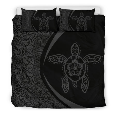 Hawaiian Hibiscus Turtle Polynesian Bedding Set-Circle Style Grey - AH - J7 - Alohawaii