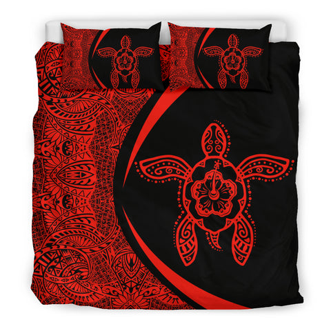 Hawaiian Hibiscus Turtle Polynesian Bedding Set-Circle Style Red - AH - J7 - Alohawaii
