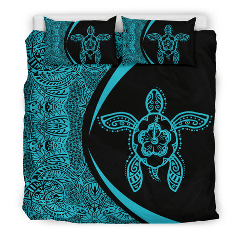 Image of Hawaiian Hibiscus Turtle Polynesian Bedding Set-Circle Style Blue - AH - J7 - Alohawaii