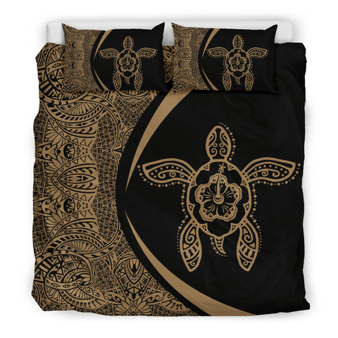 Hawaiian Hibiscus Turtle Polynesian Bedding Set-Circle Style Gold And Black - AH - J7 - Alohawaii