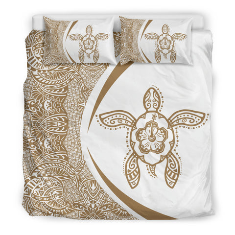 Hawaiian Hibiscus Turtle PolynesianBedding Set-Circle Style Gold And White - AH - J7 - Alohawaii