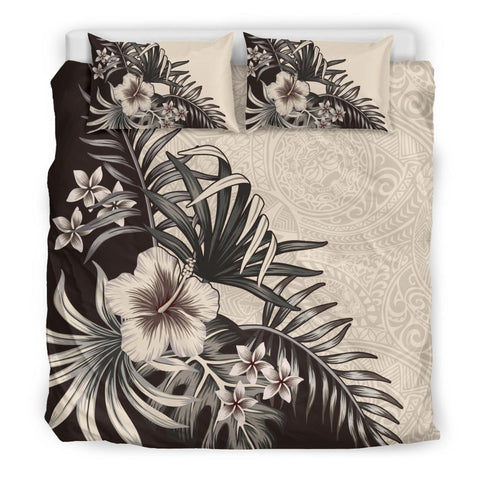 Hawaiian The Beige Hibiscus Plumeria Palm Tree Bedding Set - AH - A0 - Alohawaii