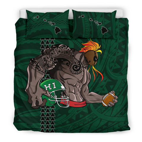 Hawaiian Map Warrior Rugby Polynesian Bedding Set Green - AH - J11 - Alohawaii