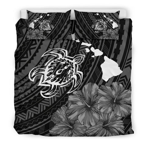 Image of Hawaiian Hibiscus Sea Turtle Swim Polynesian Bedding Set - AH - J5