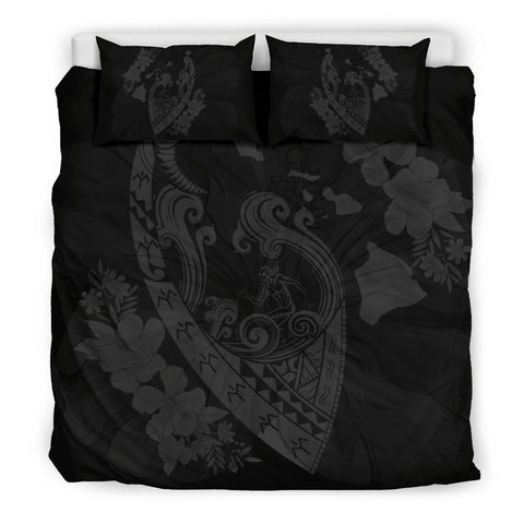 Hawaiian Fish Hook Hibiscus Banzai Surfing Polynesian Bedding Set Grey - AH - J5 - Alohawaii