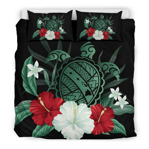 Hawaiian Map Turtle Hibiscus Polynesian Bedding Set - AH J4 - Alohawaii