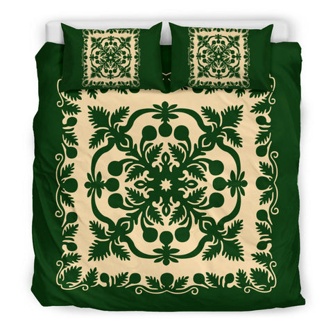 Hawaiian Bedding Set Royal Pattern - Emerald Green - AH - J6 - Alohawaii