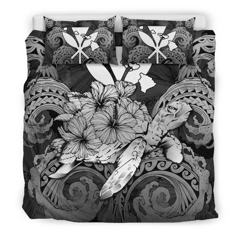 Image of Hawaii Turtle Wave Polynesian Bedding Set - Hey Style Gray - AH - J4 - Alohawaii
