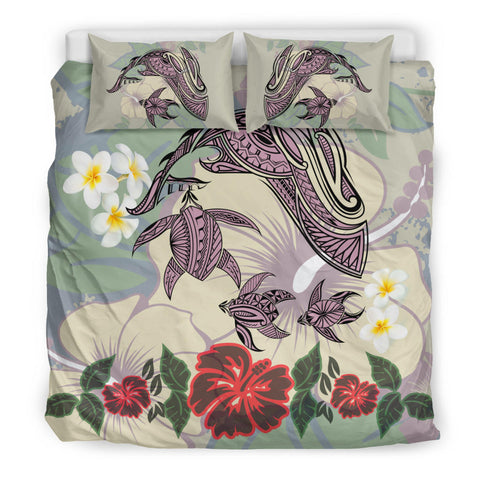 Hawaii Turtle Shark Hibiscus Bedding Set - Beige - LH Style - AH