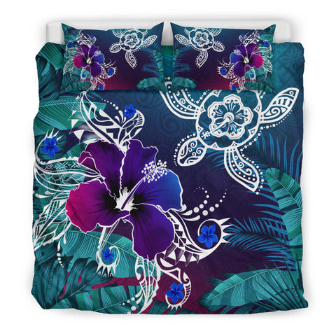 Image of Alohawaii Bedding Set - Hawaii Turtle Flowers And Palms Retro - AH J8 - Alohawaii