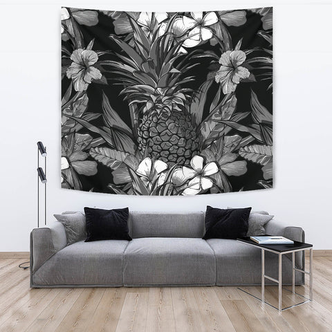 Pineapple Hibiscus Black And White Tapestry - AH - K5 - Alohawaii