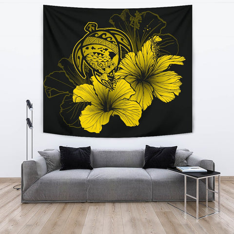 Hawaii Hibiscus Tapestry - Turtle Map - Yellow - AH J9