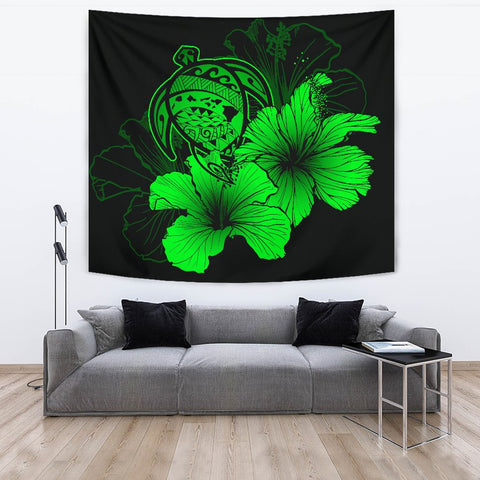 Image of Hawaii Hibiscus Tapestry - Turtle Map - Green - AH J9