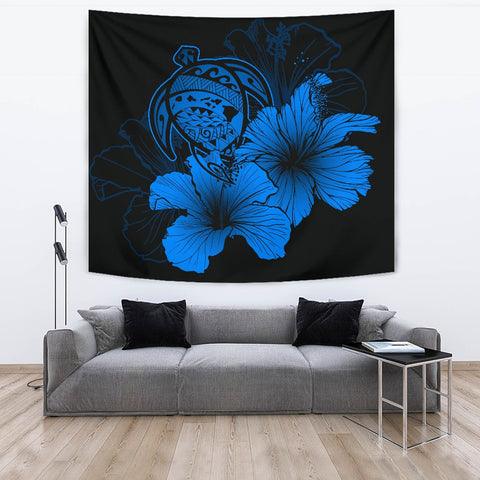 Image of Hawaii Hibiscus Tapestry - Turtle Map - Traffic Blue - AH J9