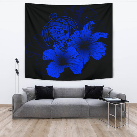 Image of Hawaii Hibiscus Tapestry - Turtle Map - Blue - AH J9