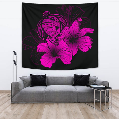 Image of Hawaii Hibiscus Tapestry - Turtle Map - Pink - AH J9