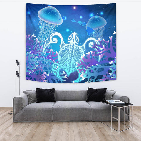 Hawaii Turtle Jellyfish Coral Galaxy Tapestry - AH - J4