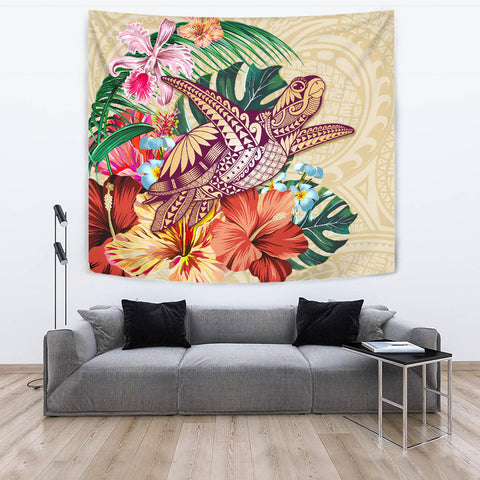Hawaii Tropical Hibiscus Plumeria Turtle Beige Tapestry - AH - J4
