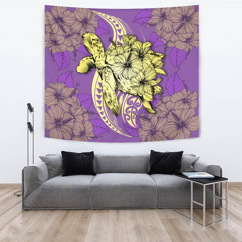 Hawaii Polynesian Turtle Hibiscus Tapestry - Yellow - AH - J4