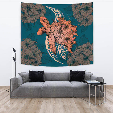 Hawaii Polynesian Turtle Hibiscus Tapestry - Orange - AH - J4
