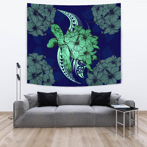 Hawaii Polynesian Turtle Hibiscus Tapestry - Green - AH - J4