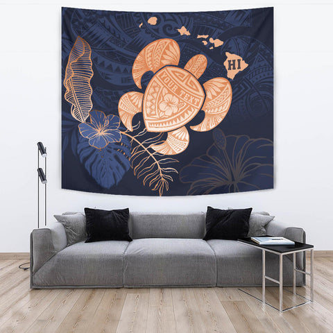 Personalized - Hawaii Kakau Polynesian Turtle Map Tapestry - Indigo - AH - J6