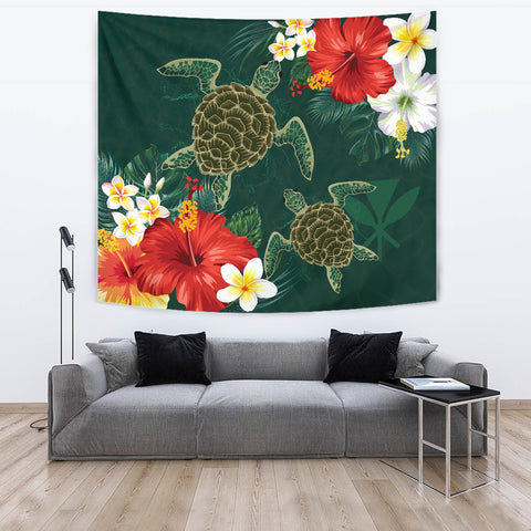 Image of Hawaii Sea Turtle Hibiscus Plumeria Tapestry - AH - J4