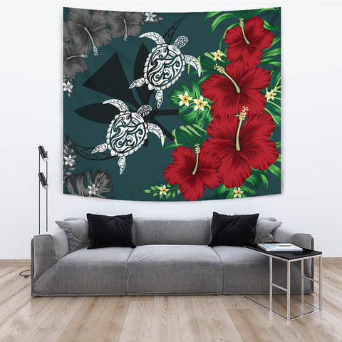 Image of Hawaii Map Turtle Hibiscus Plumeria Polynesian - Tapestry AH J2