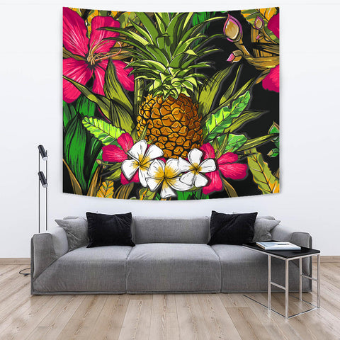 Hawaii Tropical Flowers Pineapple Tapestry - AH - J5