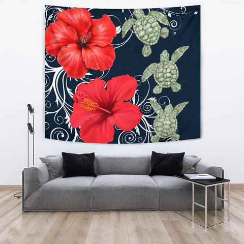 Hawaii Deep Blue Hibiscus Turtle Tapestry - AH - Mike Style - J5