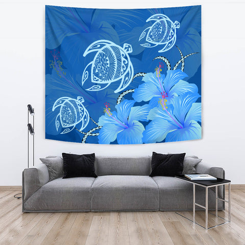 Image of Hawaii Blue Hibiscus Turtle Polynesian Tapestry - AH - J4