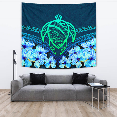 Image of Hawaii Turtle Hibiscus Tapestry - Choco Style - AH - J4