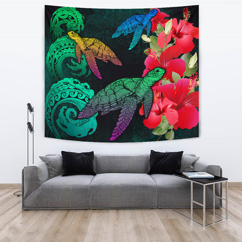 Image of Hawaii Turtle Wave Hibiscus Tapestry - Unia Style - AH - J4