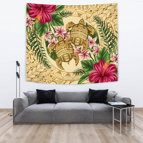 Alohawaii Tapestry - Turtle Strong Pattern Hibiscus Plumeria AH J1