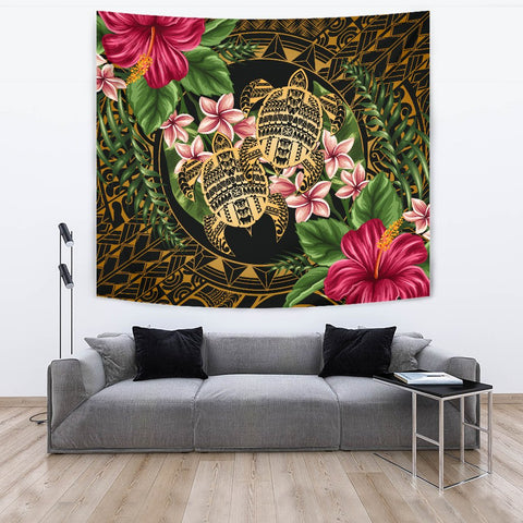 Alohawaii Tapestry - Turtle Strong Pattern Hibiscus Plumeria Art AH J1