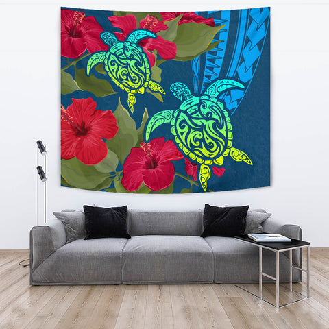 Image of Hawaii Turtle Hibiscus Polynesian Tapestry - Bana Style - AH - J4