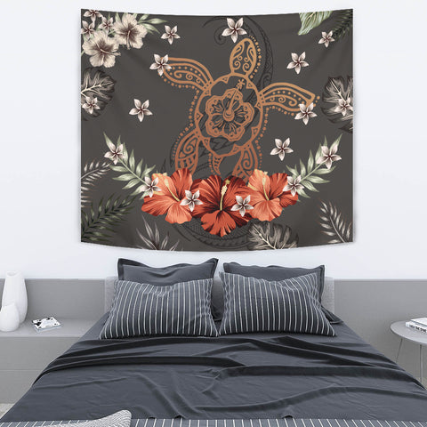 Image of Hawaii Turtle Polynesian Hibiscus Kanaka Style Tropical - Tapestry AH J2