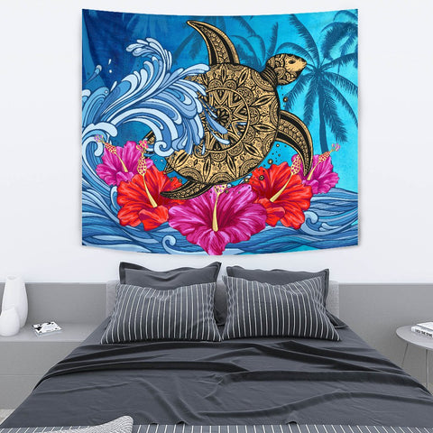 Hawaii Sea Turtle Hibiscus Coconut Tree Tapestry - AH - J4 - Alohawaii