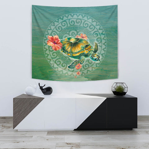 Image of Hibiscus Turtle Swimming Tapestry - AH - J1 - Alohawaii