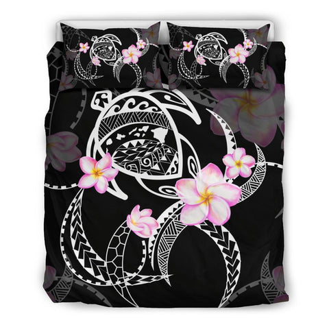 Hawaiian Map Plumeria Turtle Swim Polynesian Bedding Set Black  - AH J9 - Alohawaii