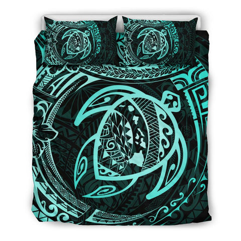 Hawaiian Map Hibiscus Turtle Polynesian Bedding Set - AH J9 - Alohawaii