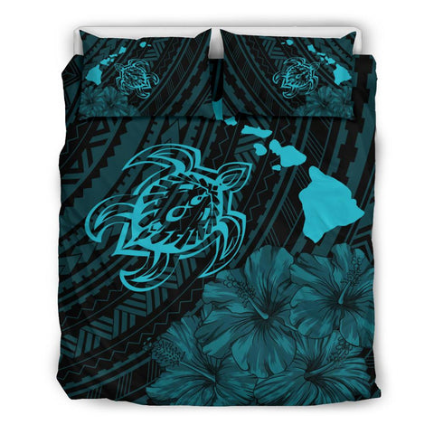 Hawaiian Map Sea Turtle Is Swimming Toward Polynesian Bedding Set Blue - AH - J5 - Alohawaii