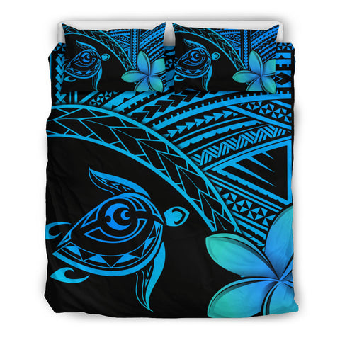 Image of Hawaiian Turtle Kakau Plumeria Polynesian Bedding Set Blue - AH J0 - Alohawaii