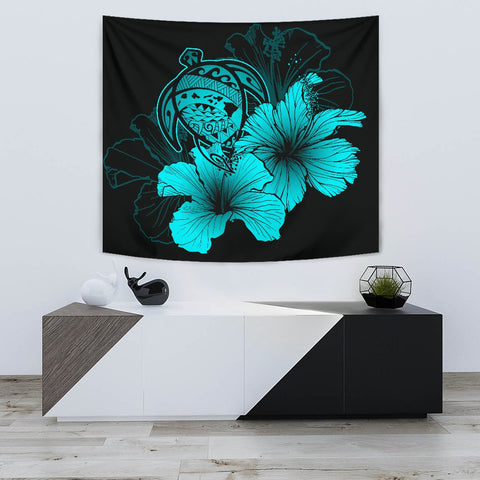 Hawaii Hibiscus Tapestry - Turtle Map - Turquoise - AH J9