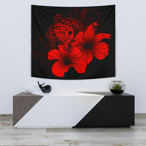 Hawaii Hibiscus Tapestry - Turtle Map - Calico Red - AH J9