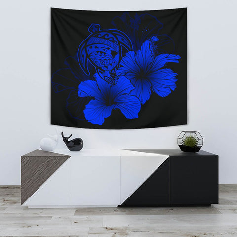 Image of Hawaii Hibiscus Tapestry - Turtle Map - Blue - AH J9 - Alohawaii