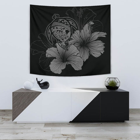 Image of Hawaii Hibiscus Tapestry - Turtle Map - Gray - AH J9