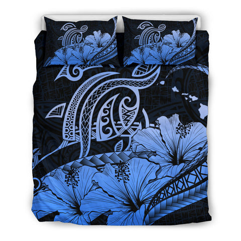 Hawaii Turtle Map Polynesian Blue Bedding Set Safety