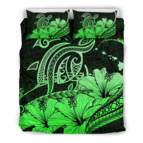 Hawaii Turtle Map Polynesian Green Bedding Set Safety