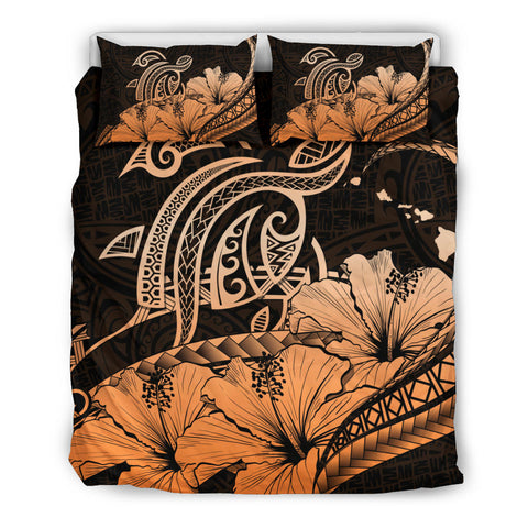 Hawaii Turtle Map Polynesian Orange Bedding Set Safety
